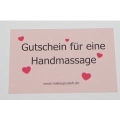 """10 Gutschein Karten,""""Handmassage"""""""