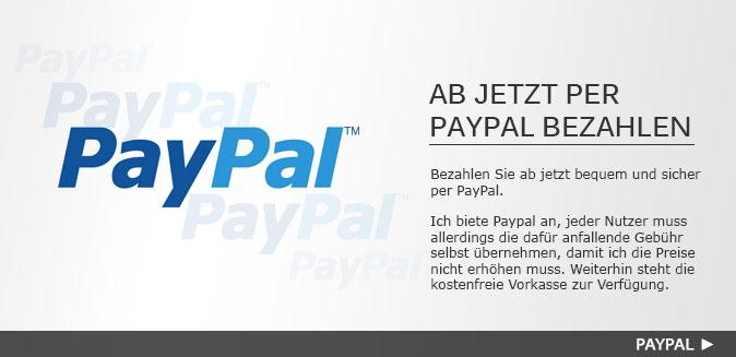 Ab jetzt per PayPal bezahlen